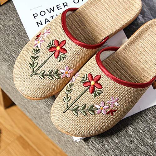 JYDQM Chanclas Florales de Lino para Mujer, Zapatos de Playa, Zapatillas para Mujer, Zapatillas de Flores Informales para Interiores (Color : Red, Size : #35-36)