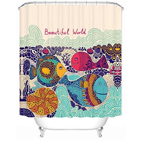 LAundNA Kreative Home Ideas Fischdekoration Wasserdicht Polyester Gewebe Bad Duschvorhang wasserdicht & schimmelresistent