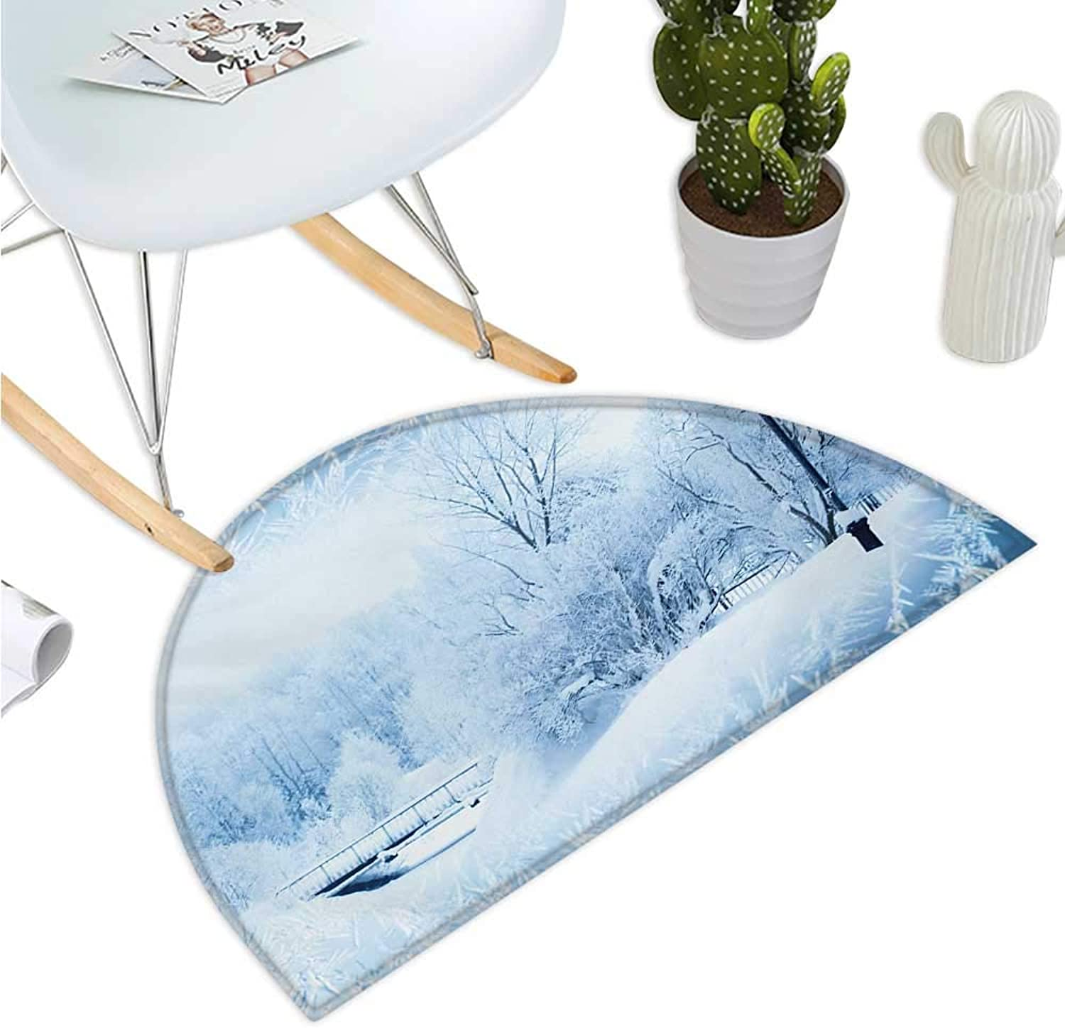 Winter Half Round Door mats Winter Trees in Wonderland Theme Christmas Year Scenery Freezing ICY Weather Entry Door Mat H 43.3  xD 64.9  bluee White