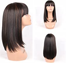 HAIR WAY Straight Wigs with 20% Human Hair and 80% Premium Japanese Fiber Like Real Human Hair Wig for Black Women Synthetic Wigs Straight Hair with Bangs for Daily Wear 14inches #1B/30