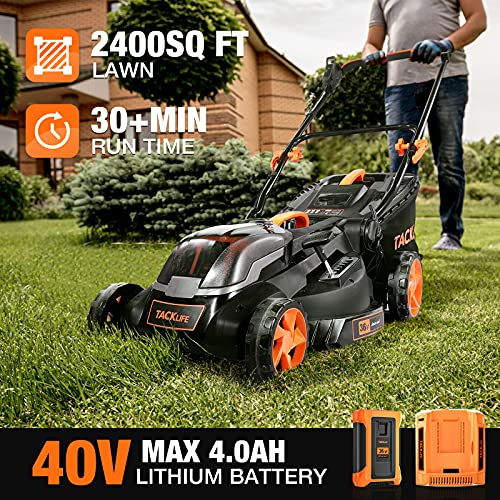 TACKLIFE Lawn Mower L9, 40V MAX 4.0Ah, Brushless Motor, 16IN Cordless Lawn Mower, with 36V Rated Battery and Charger, 6 Mowing Heights, 3 Operation Heights, 10.5Gal Grass Box