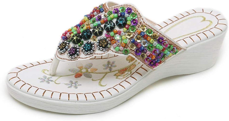 U-MAC Bohemian Wedge Platform Sandals for Women Sparkling Casual Slip On Bling Flip Flops Fashion Summer Ladies Outdoor Walking Clip Toe shoes