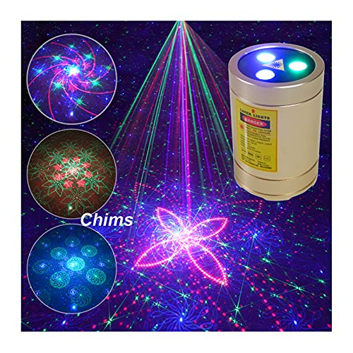 Chims Mini Laser Lights Portable Rechargeable Cordless RGB 30 Patterns Laser Music Activated Laser Lights for Festival Family Disco Party Birthday Gift DJ Party Outdoor Travel Garden Forest Camping
