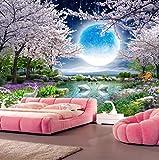 Wandtattoos Bildertapete Mond Kirschblüte Baum Natur Landschaft Wandmalerei Wohnzimmer Schlafzimmer Tapete-350 * 245Cm