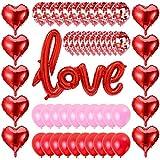 Set De Deco San Valentín 51pcs,Día De San Valentín Globos,Compromiso Decoración,Decoraciones De Boda,Kit Romántico,Globos Corazon Rojo,Bodas Nupcial Aniversario,Kit Parejas Romantico