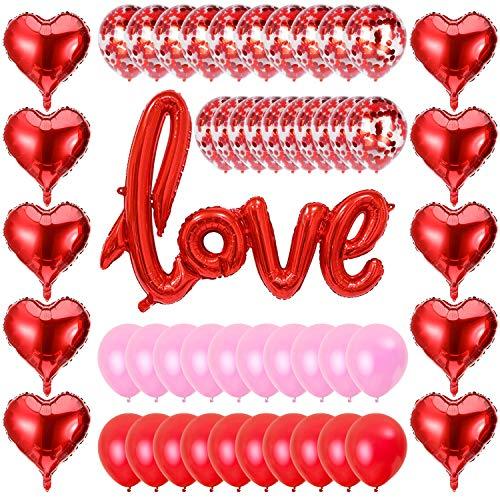 LOVEXIU San Valentino Decorazioni 51PCS,Decorazione Romantica,Forma di Cuore Rossi Balloons,Set di Decorazioni Romantica,Sorprese Romantiche,Anniversario Fidanzamentol,Decorazioni per Matrimonio