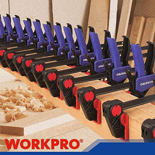 WORKPRO Bar Clamps for Woodworking, 6-Pack One-Handed Clamp/Spreader, 6-Inch (4) and 12-Inch (2) Wood Clamps Set, Light-Duty Quick-Change F Clamp with 150lbs Load Limit