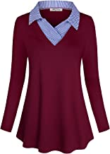 SeSe Code Women's Long Sleeve Contrast Collar Shirt A-line Pleated Office Tunic