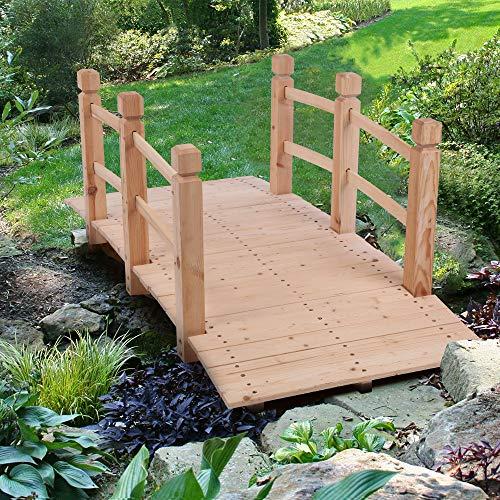 Blanketswarm Gartenbrücke aus Holz, 1,5 m, Bogen-Gehweg mit Seitengeländern, Hof, Rasen, Dekoration, Teichbrücke, Burlywood