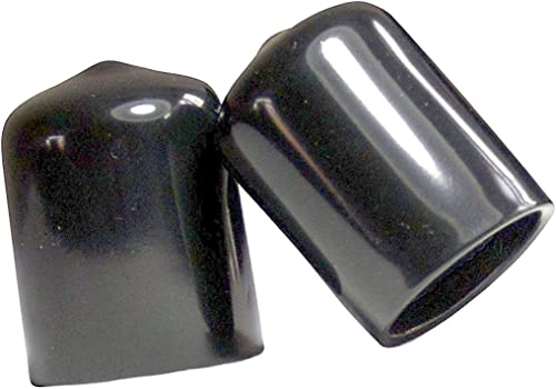"""SBDs (Pack of 10): 1/2""""- 9/16"""" Round Black Vinyl Flexible End Cap Bolt Screw Rubber Thread Protector Safety Cover 