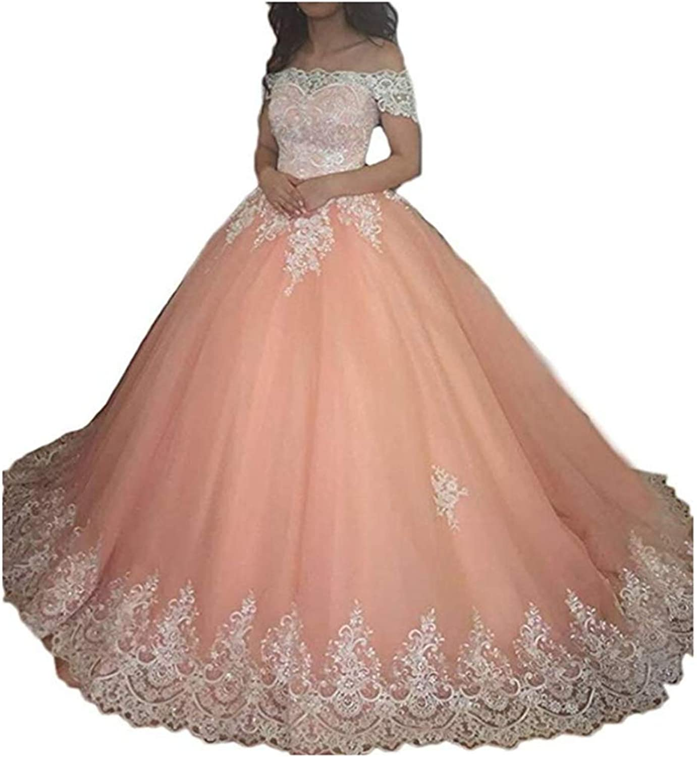 Kaitaijidian Women's Ball Gown Prom Quinceanera Dresses Long Off Shoulder Lace Wedding Gowns