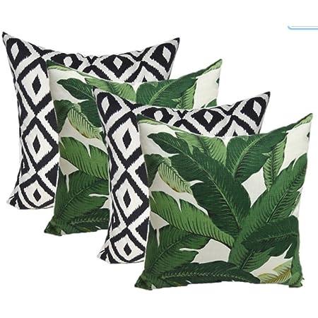 Rsh Décor Indoor Outdoor Set Of 2 Decorative Rectangular Lumbar Throw Pillows Weather Resistant Black And White Aztec Geometric Fabric 20 W X 12 H Garden Outdoor