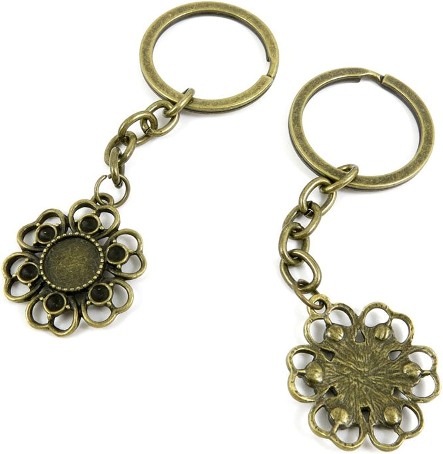 150 Pieces Fashion Jewelry Keyring Keychain Door Car Key Tag Ring Chain Supplier Supply Wholesale Bulk Lots W4ND7 Flower Cabochon Setting Blank