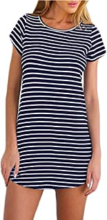 Women's Crew Neck Short Sleeve Striped Loose T-Shirt Mini Dress