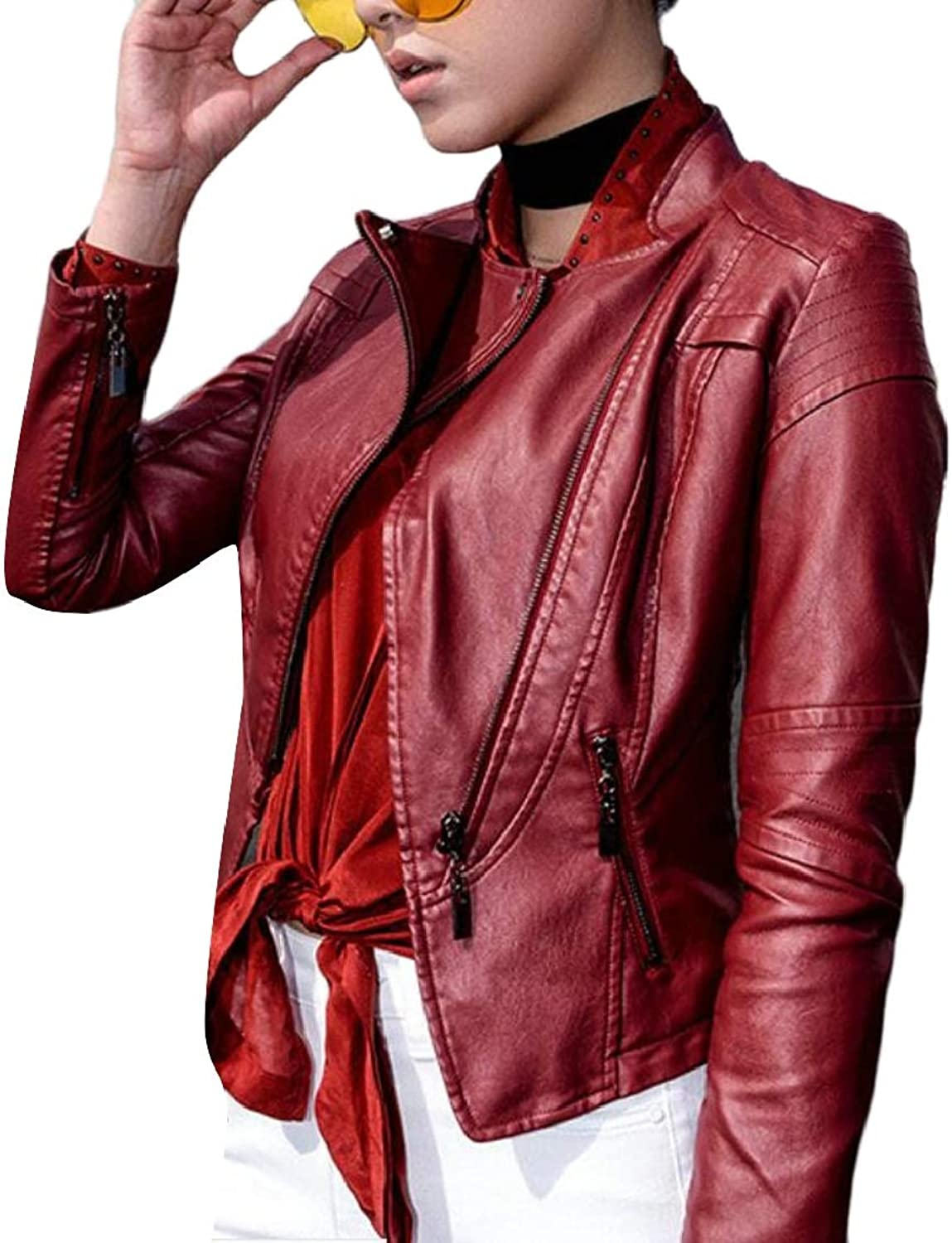 TDCACA Womens Faux Leather Solid Slim Motorcycle Short Jacket Outwear