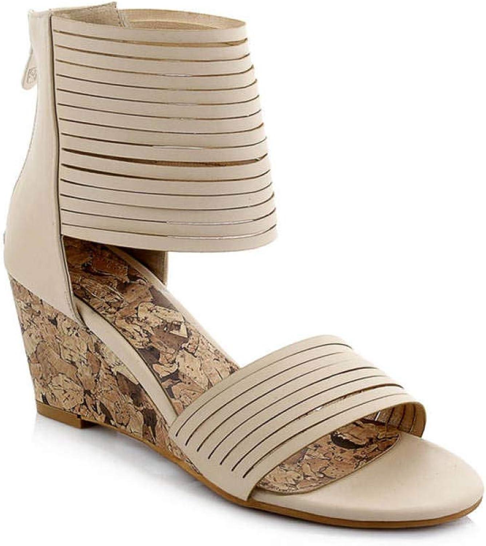 MEIZOKEN Womens Ankle Strappy Gladiator Wedge Sandals Comfort Open Toe Non-Slip Zipper Bohemian Sandal