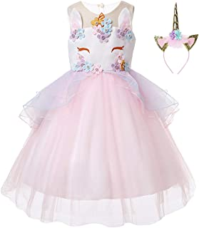 Girls Flower Unicorn Costume Pageant Princess Halloween Dress Up Cosplay Birthday Party Dress