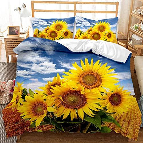 QIAOJIN - Set di biancheria da letto con motivo floreale, 2/3 pezzi, con chiusura lampo, copripiumino e federa, in microfibra di alta qualità, traspirante (j,140 x 210)