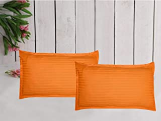 Trance Home Linen 100% Cotton Pillow Covers (18X28_Orange)