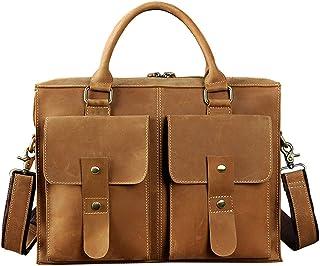 Genda 2Archer Men's Leather Shoulder Handbag Business Briefcase 14 Inch Laptop Bag One_Size Yellow
