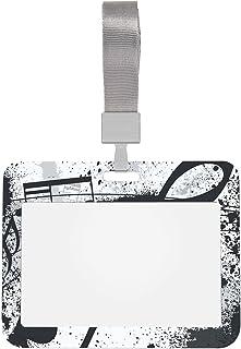 Protecteur de badge 4x3 Note de musique musicale Noir et blanc Porte-badge rétractable personnalisé avec lanière Porte-ide...