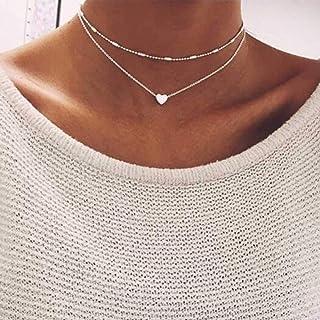 Jovono Skiktat hjärta hänge halsband silver pärlor halsband kedja för kvinnor och flickor e legering, colore: set1, cod. 2...