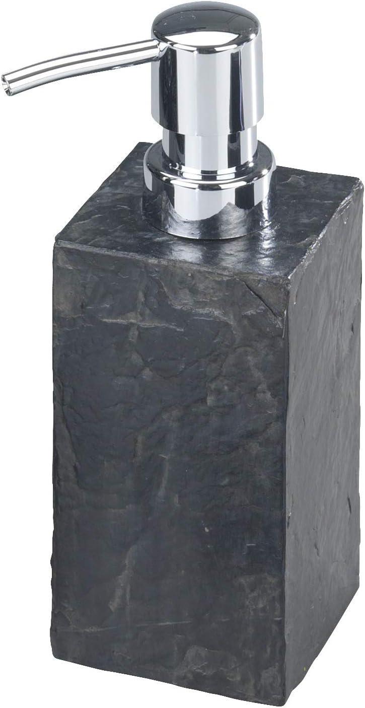 Wenko Slate Rock Dosificador Jabón 0.25 L, Poliresina, Antracita, 5.9x8.2x17 cm