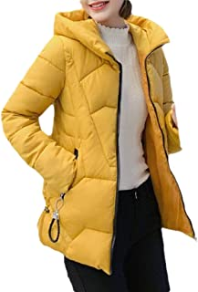 Macondoo Women's Fall Winter Quilted Hooded Coat Cotton-Padded Down Jacket
