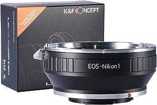 EOS-NIKON1 Adaptador - K&F Concept Anillo de Adaptador para Montar la Lente de Canon EOS a Nikon 1-Serie Cámara Adecuado para Nikon V1 J1 Mirrorless Cámaras Compatible con EOS EF y EF-S Lentes