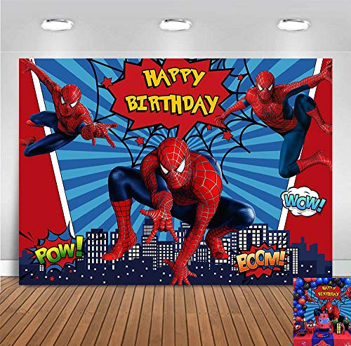 Super Hero Photography Backdrop Blue Stripe Red Photo Background Baby Girls Boys Happy Birthday Party Decorations Photo Booths Studio Props Cityscape Baby Shower Supplies Cake Table 5x3ft Vinyl