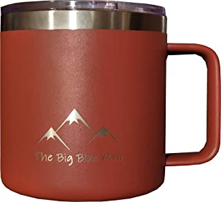 14 oz Camp Mug Travel Tumbler Cup with Powder Coated Double Walled Insulated Stainless Steel including Lid for Coffee Wine Water Tea or any Hot or Cold Beverage (Burnt Orange)
