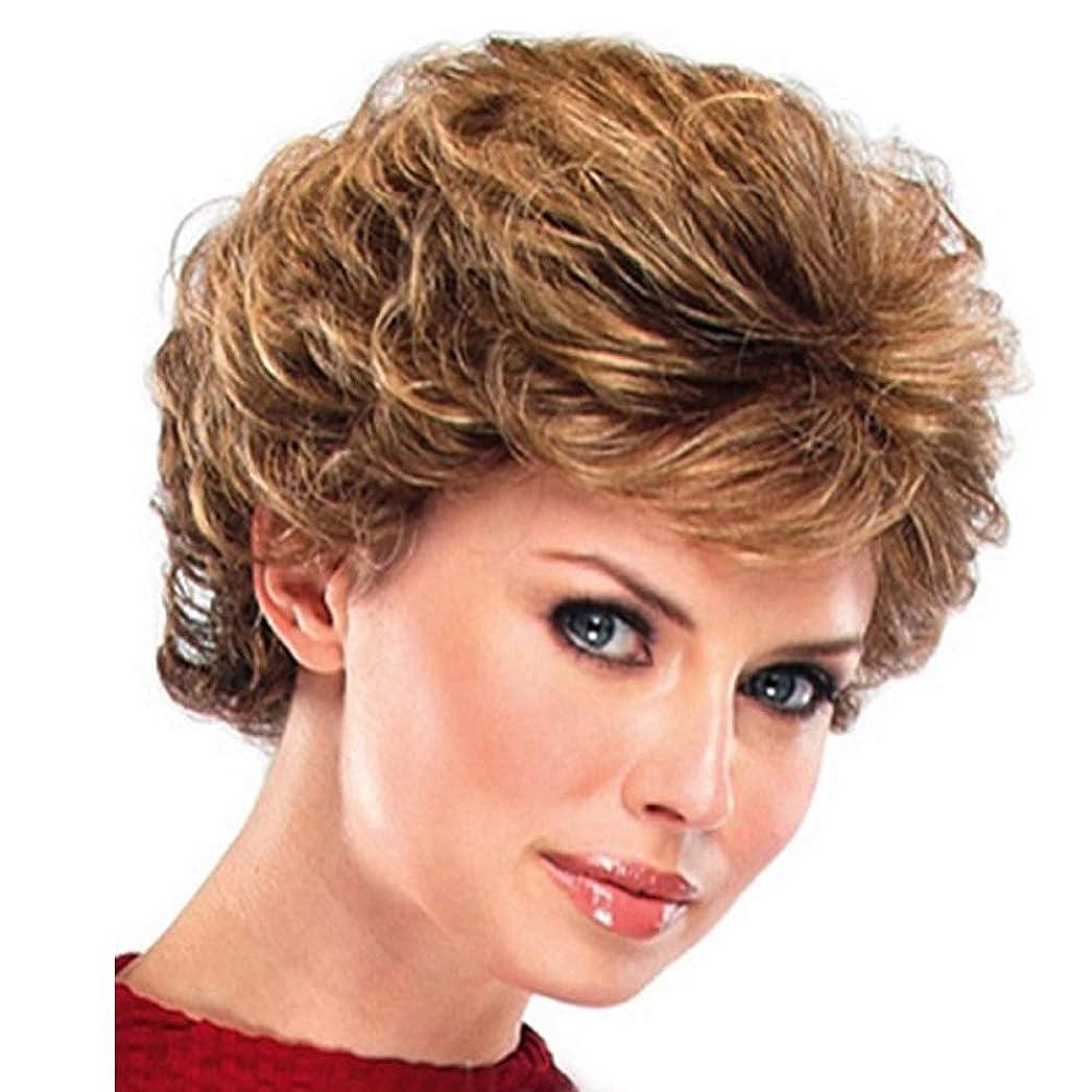 ピンクなかなか日女性短い髪混合色カール人工毛ウィッグフルヘアーかつら180%高密度毎日のパーティー用ハロウィンブラウン29 cm