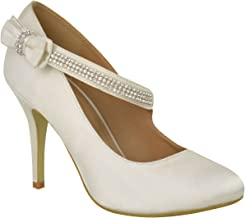 Fashion Thirsty Womens Bridal Wedding Prom Party High Heel Classic Pumps Shoes Size