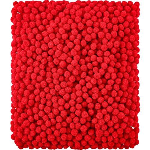 Shappy 2000 Pezzi 6 mm Pom Pom per Mestiere Fabbricazione, Forniture per Hobby e Fai da Te Creativo Mestieri Decorazioni (Rosso)