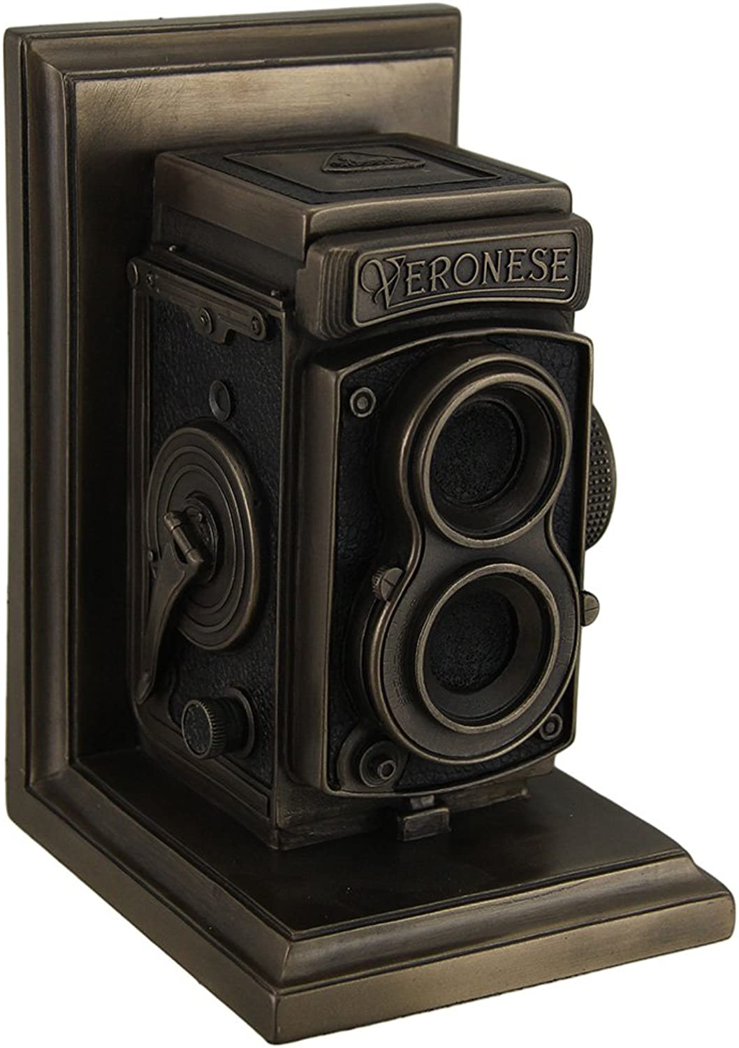 Resin Statues Vintage Tlr Camera Decorative Bronze Finish Single Bookend Statue 5 X 7 X 4.25 Inches Bronze