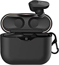 Silicone Cover Case for Sony WF-1000XM3 Wireless Earbuds, Upgraded One-Piece Anti-Lost & Shockproof Earbud Protection Pouch/Silicone Case Cover with Keychain Compatible with Sony Earphone (Black)