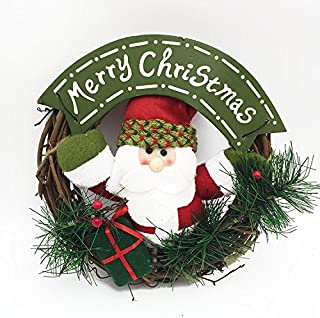 ZYL Wreath Christmas Doll Small Rattan Circle PendantDoor Hanging Decoration (Color : 2, Size : Diameter 22cm/8.7in)