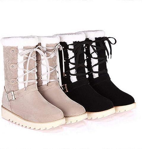 ZHRUI botas de Invierno para mujer - Botines Planos Antideslizantes para la Nieve cálida Botines con Cordones para mujer Beige negro (Color   negro, tamaño   41)