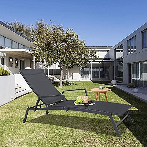 1 Tumbona + 1 Mesa de Centro para jardín Interior y al Aire Libre Salón Ergonómico Sun Tounger Relax Lounger Garden Lounge Sillón de salón