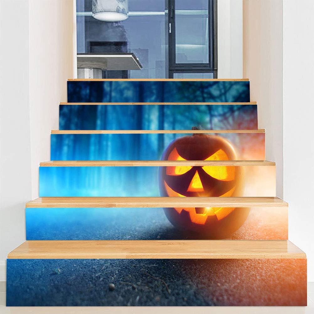 YOLE Decoraciones De Halloween Diseño De Escaleras De La Casa Embrujada,Lindo Sombrero Mágico Pegatinas De Escaleras De Cambio De Calabaza,Pegatinas De Pared De Puerta De Vidrio De Ventana Fantasma,N: Amazon.es: Deportes y
