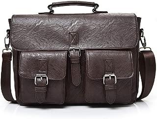 Popoti Men's Crossbody Bag, Leather Bag Shoulder Bag Handbag Briefcase Laptop Bag Backpack, Multifunctional Waterproof Nylon Vintage Messenger Bag School Bag (Brown)