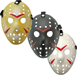 NNEWSP 3Pcs Jason Mask Cosplay Costume Mask Halloween Party Mask Prop, Yellow, White, Black