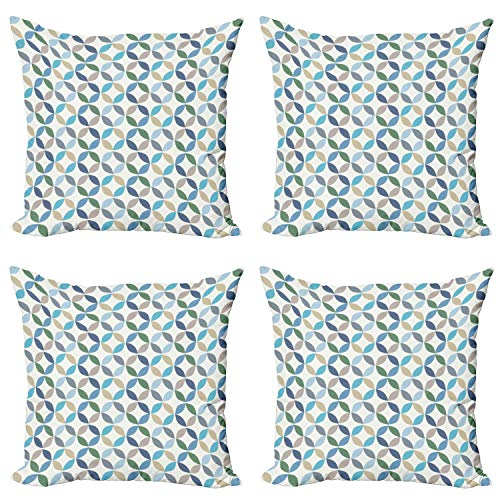 ABAKUHAUS Moderno Set de 4 Fundas para Cojín, Rayas Point ovales, Estampado Digital en Ambos Lados y Cremallera, 60 cm x 60 cm, Azul pálido Verde