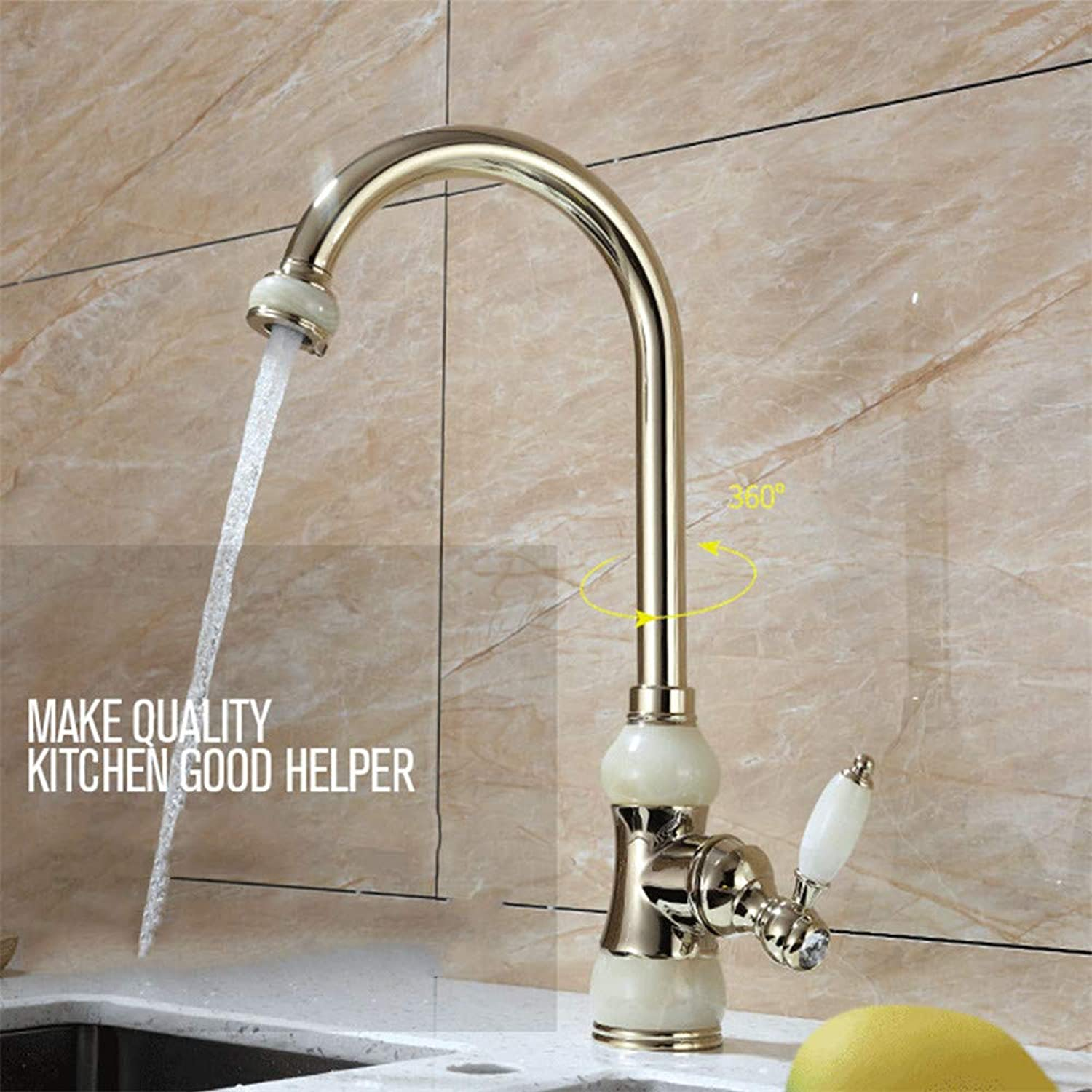 HHWY Kitchen sink faucet, single-connected marble sink bubbler faucet European single handle greenical 360° redating hot and cold jade gold-plated faucet
