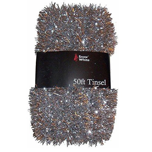50 Foot Extra Long Tinsel Pack In Silver, Red, Purple Or Gold - Homestreet Xmas Decorations by Christmas at Widdle Gifts