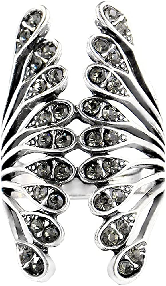 Vintage Big Wings Statement Ring for Women Girls Black CZ Engagement Comfort Fit Band Rings Bohemian Wedding Jewelry