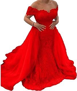 Off The Shoulder Mermaid Lace Detachable Train Long Evening Prom Dresses