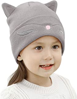 Toddler Kids Cat Ear Hats Winter Beanie Knit Caps Boy Girl Christmas (Aged 2-6)