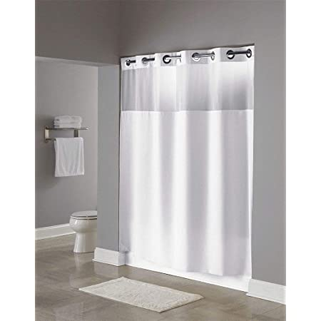 Amazon Com Hookless Hbh49mys01sl74 Illusion Shower Curtain With Snap In Liner Sheer Top White 71 X 74 Home Kitchen