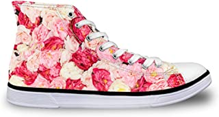 Fashion Floral Canvas High Top Sneakers for Women Girls